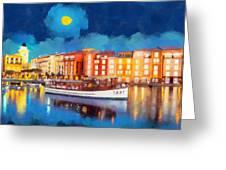 Portofino By Night Greeting Card by George Rossidis