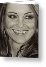 Portrait Kate Middleton Detail Greeting Card by Natalya Aliyeva