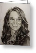 Portrait Kate Middleton Greeting Card by Natalya Aliyeva