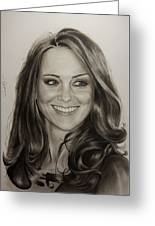 Portrait Kate Middleton Greeting Card by Natalya Aliyeva