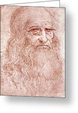 Portrait Of A Bearded Man Greeting Card by Leonardo da Vinci