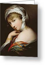 Portrait Of A Lady In Eastern Dress Greeting Card by English School