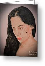 Portrait Of A Long Haired Filipina Beautfy With A Mole On Her Cheek Fade To Black Version Greeting Card by Jim Fitzpatrick