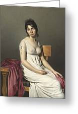 Portrait Of A Young Woman In White Greeting Card by Jacques Louis David