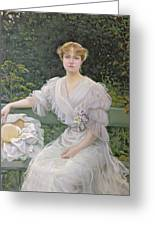 Portrait Of Marguerite Durand Greeting Card by Jules Cayron