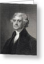 Portrait Of Thomas Jefferson Greeting Card by Henry Bryan Hall