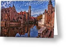 Postcard Canal Greeting Card by Joan Carroll