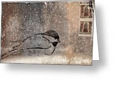 Postcard Chickadee in the Snow Greeting Card by Carol Leigh