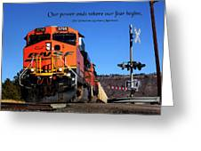 Power Ends Greeting Card by Mike Flynn