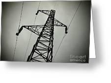 Power Pole Greeting Card by Bernard Jaubert