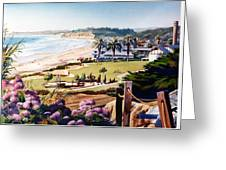 Powerhouse Beach Del Mar Lilac Greeting Card by Mary Helmreich