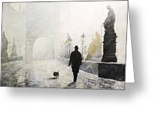 Prague Charles Bridge Morning Walk 01 Greeting Card by Yuriy Shevchuk