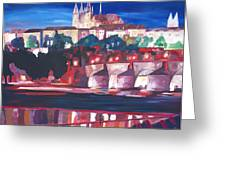 Prague - Hradschin With Charles Bridge Greeting Card by M Bleichner