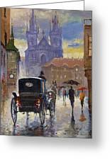 Prague Old Town Square Old Cab Greeting Card by Yuriy  Shevchuk