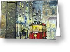 Praha Red Tram Mostecka str  Greeting Card by Yuriy  Shevchuk