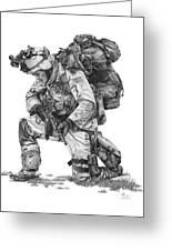 Praying  Soldier  Greeting Card by Murphy Elliott