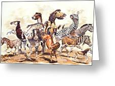 Prehistoric Horses Greeting Card by Mark Hallett Paleoart