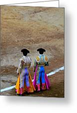Presence Of The Bullfighters Greeting Card by Laura Jimenez