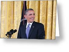 President Barack Obama Greeting Card by Ava Reaves