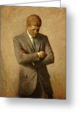 President John F. Kennedy Official Portrait By Aaron Shikler Greeting Card by Movie Poster Prints