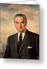 President Lyndon Johnson Painting Greeting Card by War Is Hell Store