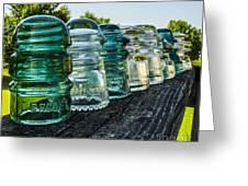 Pretty Glass Insulators All In A Row Greeting Card by Deborah Smolinske