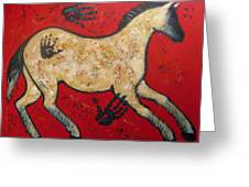 Primitive Modern Cave Art Horse Greeting Card by Carol Suzanne Niebuhr