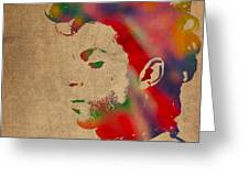 Prince Watercolor Portrait On Worn Distressed Canvas Greeting Card by Design Turnpike