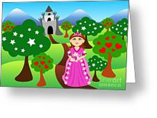 Princess and castle landscape Greeting Card by Sylvie Bouchard