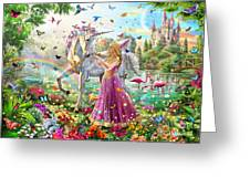 Princess And The Unicorn Greeting Card by Adrian Chesterman