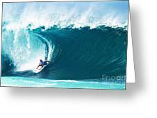Pro Surfer Kelly Slater Surfing In The Pipeline Masters Contest Greeting Card by Paul Topp
