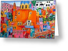 Procida Houses Greeting Card by Roberto Gagliardi