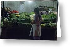 Produce Shop And The Owner Greeting Card by Scott Lenhart