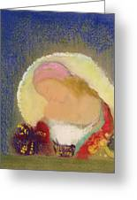 Profile Of A Girl With Flowers Greeting Card by Odilon Redon