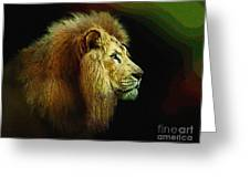 Profile Of The Lion King Greeting Card by Robert Foster