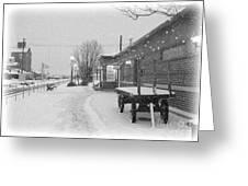 Prosser Winter Train Station  Greeting Card by Carol Groenen