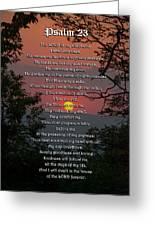 Psalm 23 Prayer Over Sunset Landscape Greeting Card by Christina Rollo