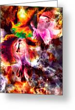 Psychedelic Gladiolus Greeting Card by Michelle J Sergi