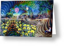 Psychedelic Landscape Greeting Card by Andrew Osta