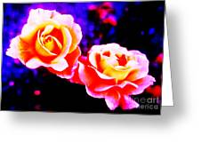 Psychedelic Roses Greeting Card by Martin Howard