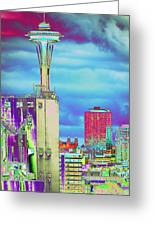 Psychedelic Seattle Greeting Card by Richard Henne