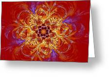 Psychedelic Spiral Vortex Red Orange And Blue Fractal Flame Greeting Card by Keith Webber Jr