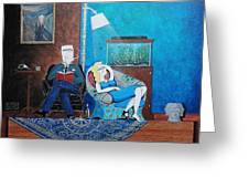 Psychiatrist Sitting In Chair Studying Spider's Reaction Greeting Card by John Lyes