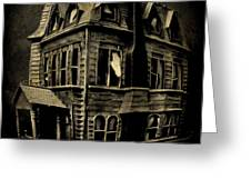 Psycho Mansion Greeting Card by John Malone