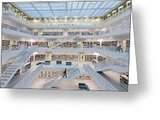 Public Library Stuttgart - Modern Architecture And Lots Of Books Greeting Card by Matthias Hauser