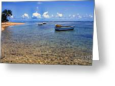 Puerto Rico Luquillo Beach Fishing Boats Greeting Card by Thomas R Fletcher