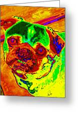 Pug Portrait Pop Art Greeting Card by Eti Reid