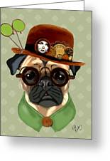 Pug Steampunk In A Bowler Hat Greeting Card by Kelly McLaughlan
