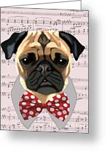 Pug With Bow Tie Greeting Card by Kelly McLaughlan