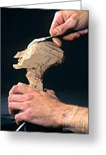 Puppet Being Carved From Wood Greeting Card by Bernard Jaubert